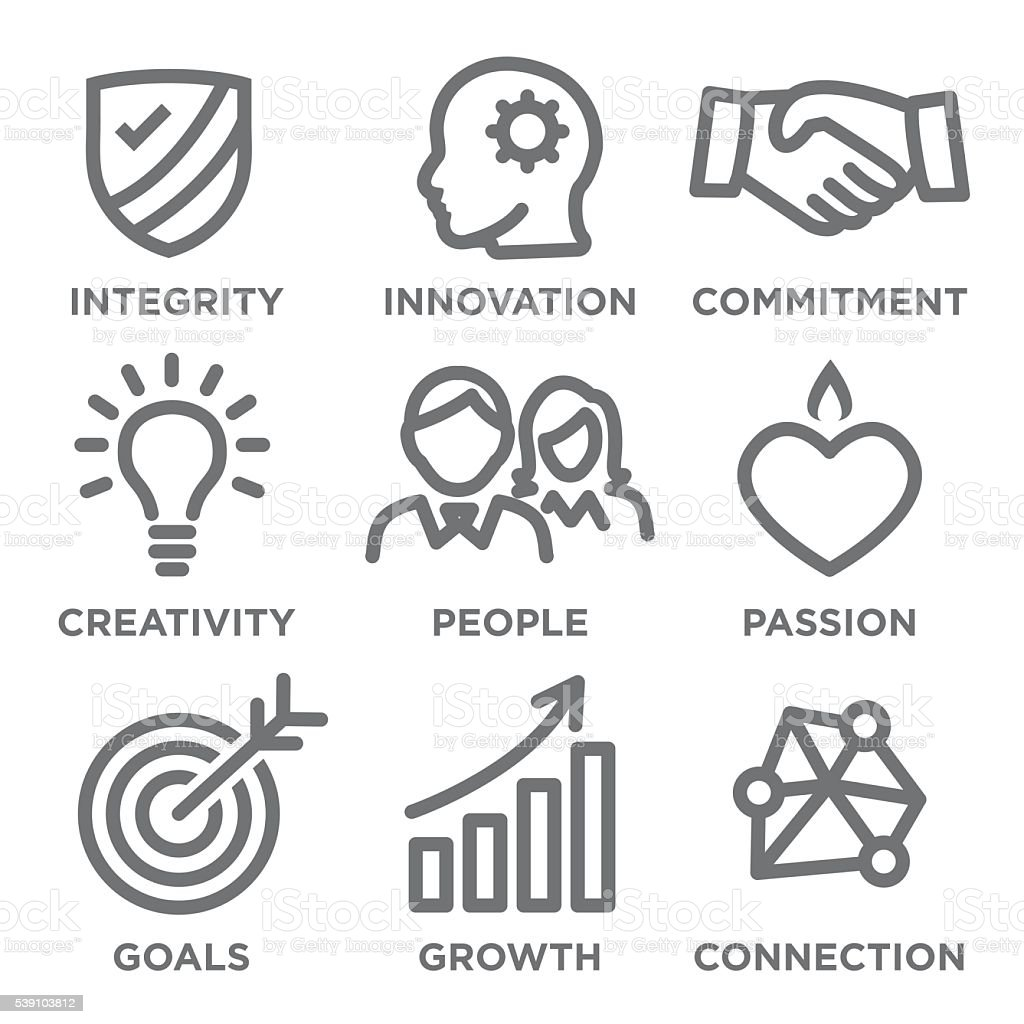 Company Core Values Outline Icons vector art illustration