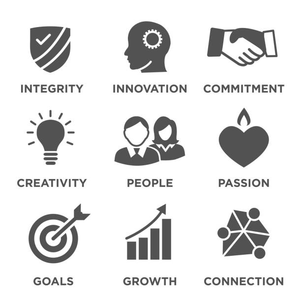 Company Core Values Solid Icons for Websites or Infographics Company Core Values Solid Icons for Websites or Infographics passion stock illustrations