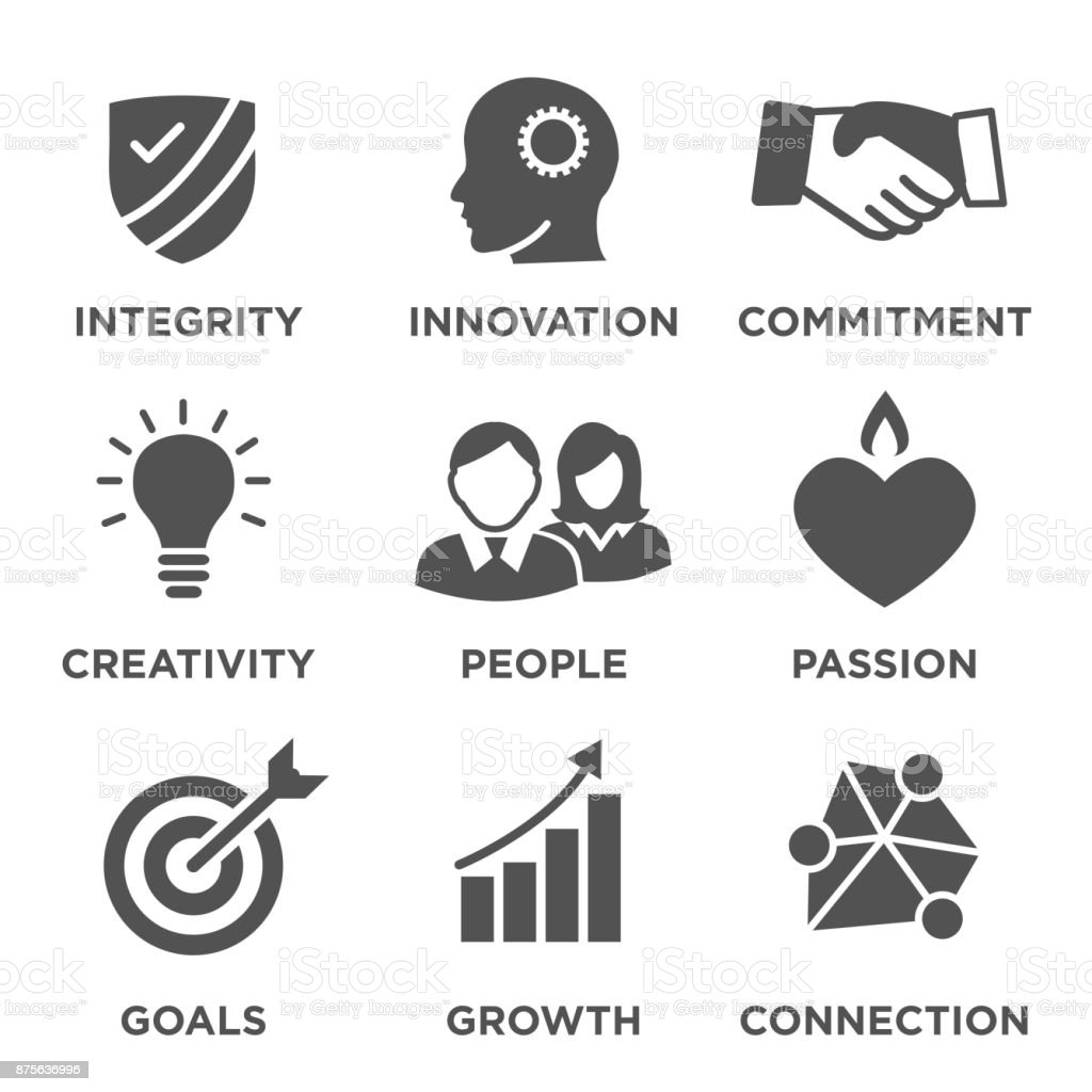 Company Core Values Solid Icons for Websites or Infographics vector art illustration