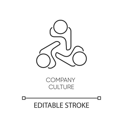 Company culture pixel perfect linear icon. Thin line customizable illustration. Internal corporate ideology, professional ethics contour symbol. Vector isolated outline drawing. Editable stroke