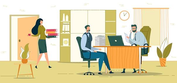 Company Director Office Flat Vector Illustration