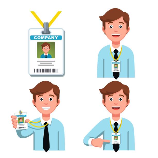 회사 직원을 표시 하 고 자신의 비즈니스 id 배지에 가리키는 미소. 끈에 작업자 보안 카드 태그입니다. 평면 스타일 벡터 클립 아트 - 단정한 사무복 stock illustrations