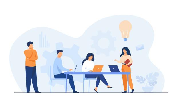 stockillustraties, clipart, cartoons en iconen met medewerkers van het bedrijf die taak en brainstormen plannen - kantoor