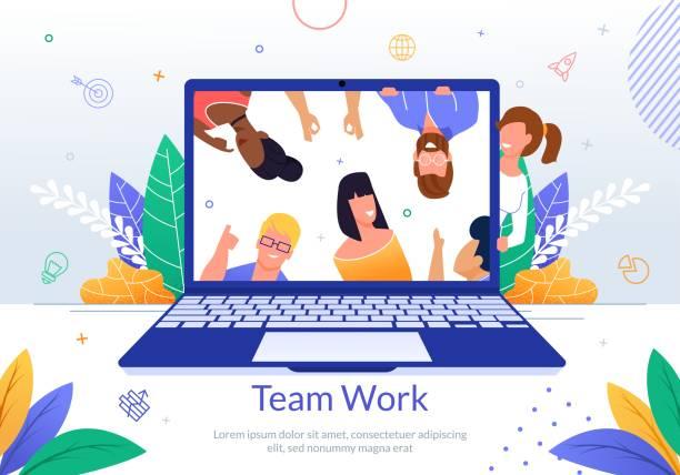 Firmenmitarbeiter Teamwork Flat Vector Poster – Vektorgrafik