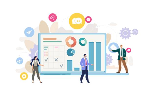 Company Financial Analysis Flat Vector Concept Business Data Analysis, Planning Company Strategy, Digital Marketing, Businesspeople Communication Flat Vector Concept. Businesswoman and Businessman near Laptop with Graphs on Screen Illustration ceo stock illustrations