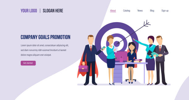 Company goals promotion. Internal marketing, management, increase in work productivity. vector art illustration