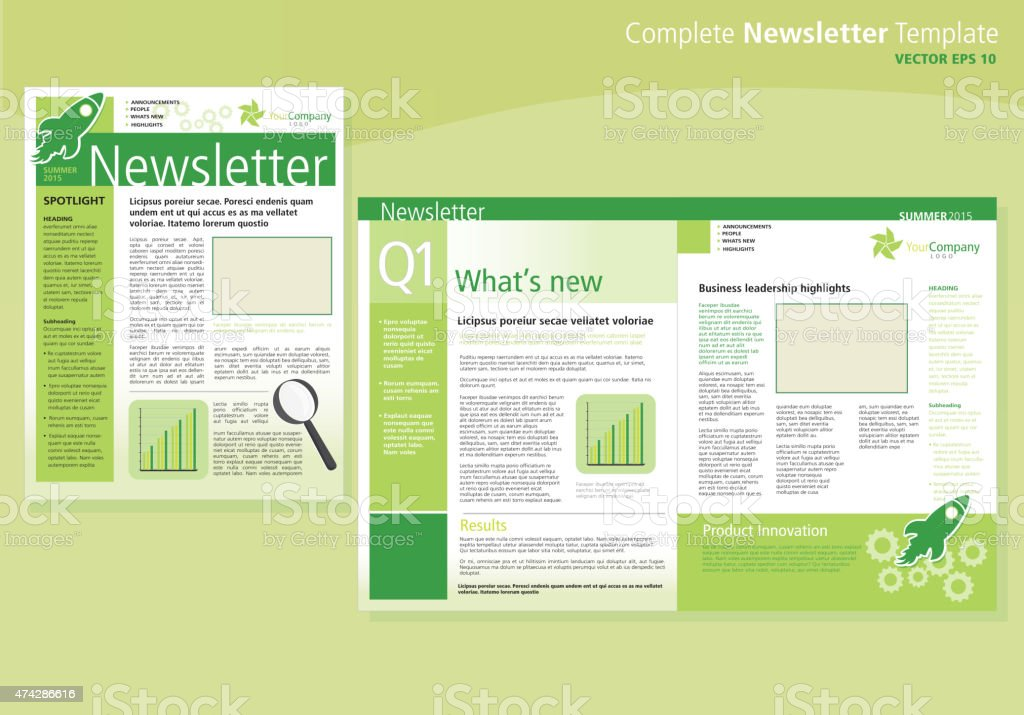 Company Green Business Newsletter Cover And Inside Layout Design