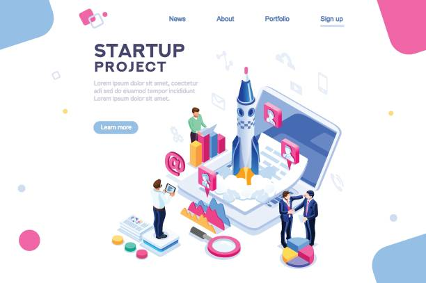 company homepage template - abstract of paper spaceship launch to space stock illustrations, clip art, cartoons, & icons