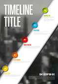 Vector Infographic timeline report template with big photo placeholder, icons, years and color buttons on white diagonal stripe. Business company vertical overview profile.