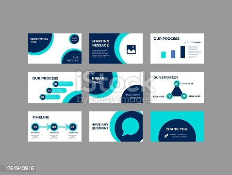 istock Company Investment Presentation, Pitch deck Vector Template 1264943916