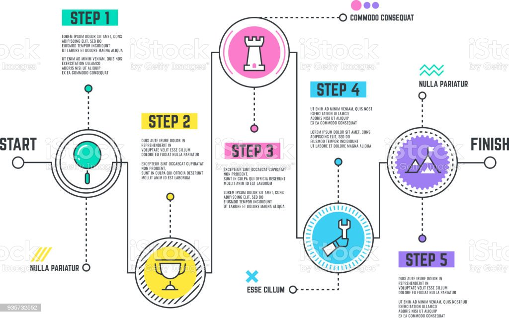 Company journey path. Infographic roadmap with steps line timeline royalty-free company journey path infographic roadmap with steps line timeline stock illustration - download image now
