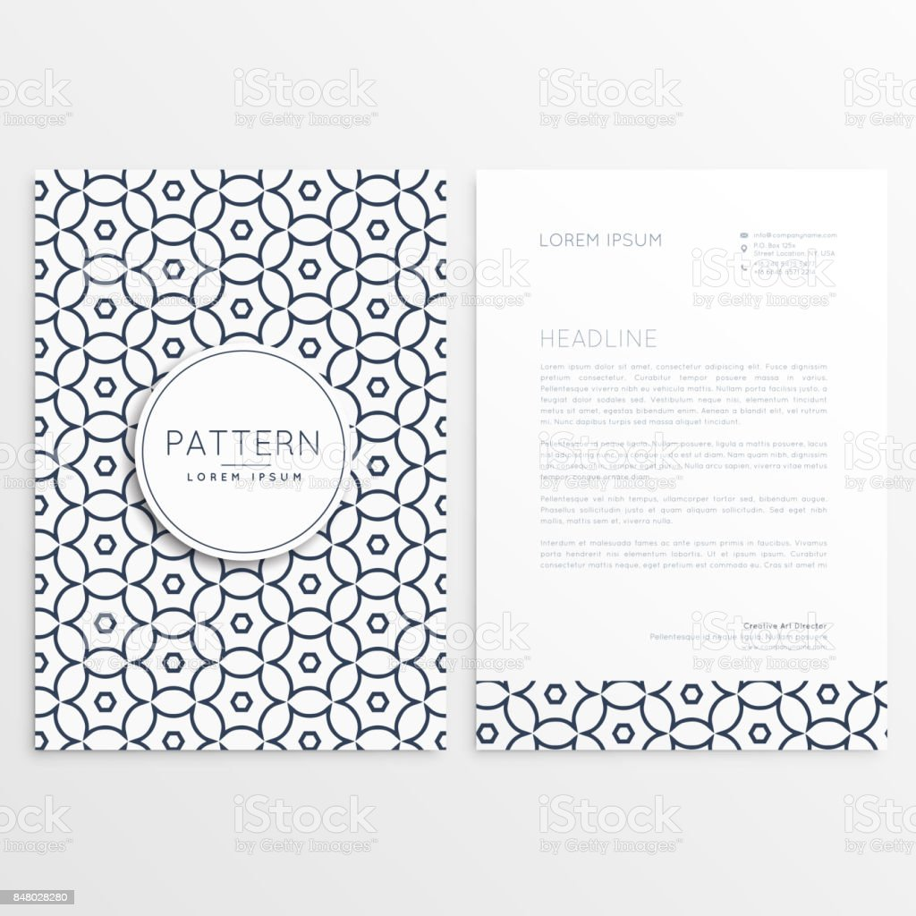 Firma Briefkopf Design Im Einfachen Stil Und Muster Form Stock