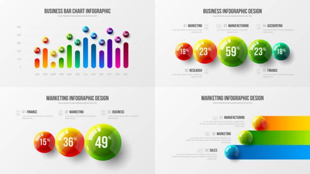 illustrazioni stock, clip art, cartoni animati e icone di tendenza di company marketing analytics presentation vector illustration template bundle. - banchi scuola