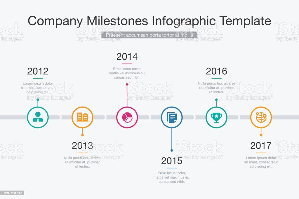 Company Milestones Timeline Template vector art illustration