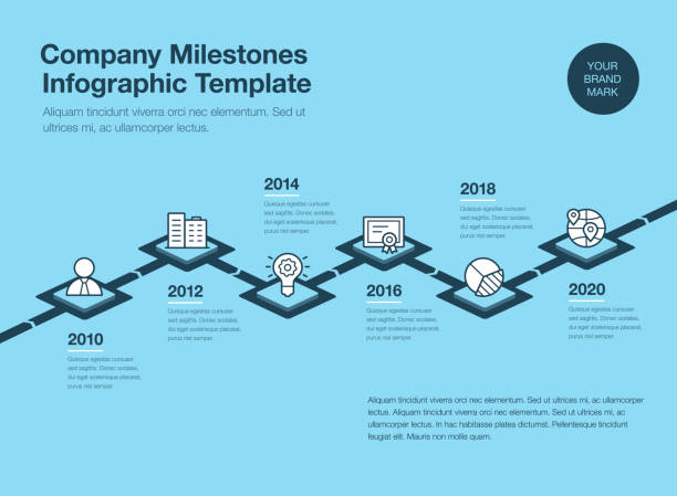 company milestones timeline template with 3d rhombus and line icons - blue version - timeline stock illustrations
