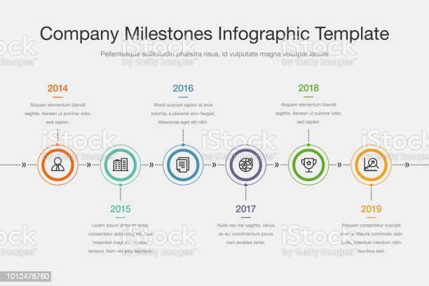 Vetores de Modelo De Cronograma De Marcos De Empresa Com Círculos Coloridos E Ícones e mais imagens de A Data