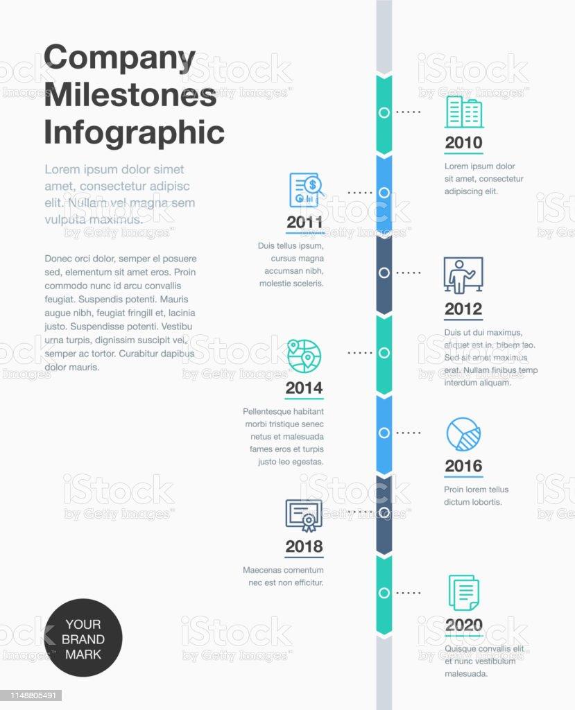 Modelo de cronograma de Marcos da empresa com ícones de linha - Vetor de A Data royalty-free