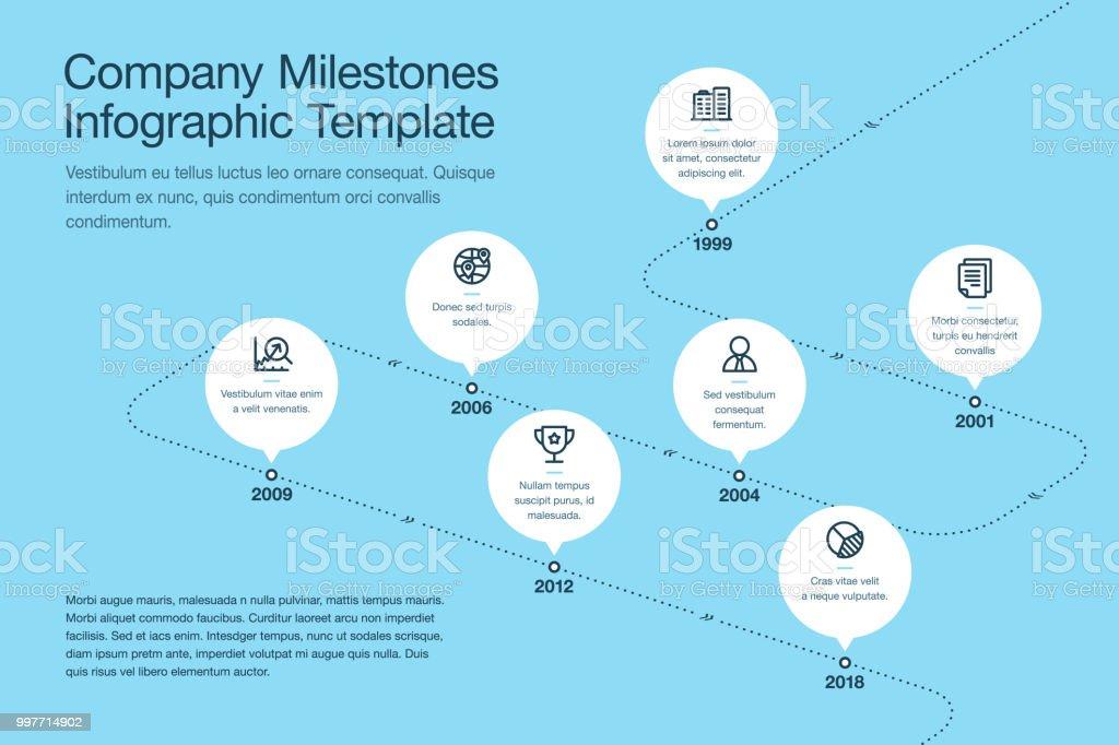 Modelo de cronograma de Marcos empresa com círculos brancos e ícones de acidente vascular cerebral em uma versão de linha - azul estrada curvada - Vetor de A Data royalty-free