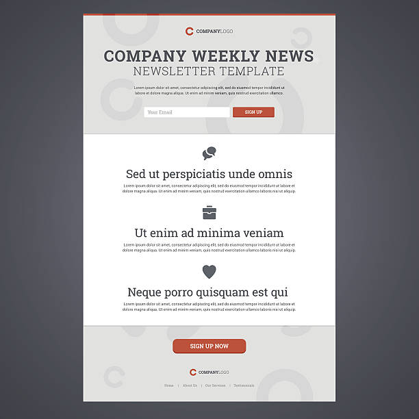 Company news newsletter template. Company news newsletter template with sign up form. Vector illustration. email templates stock illustrations