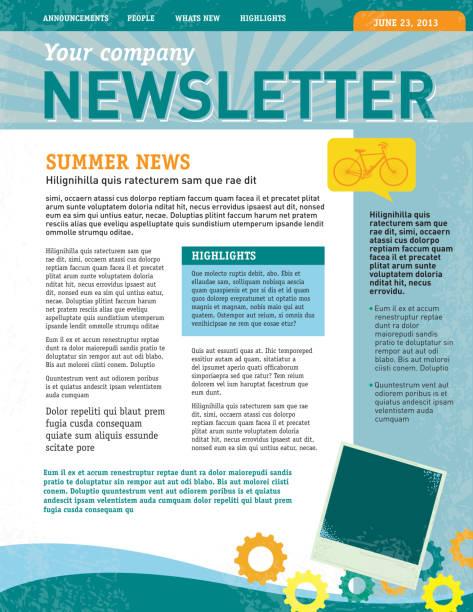 illustrazioni stock, clip art, cartoni animati e icone di tendenza di società newsletter modello di progettazione - newsletter