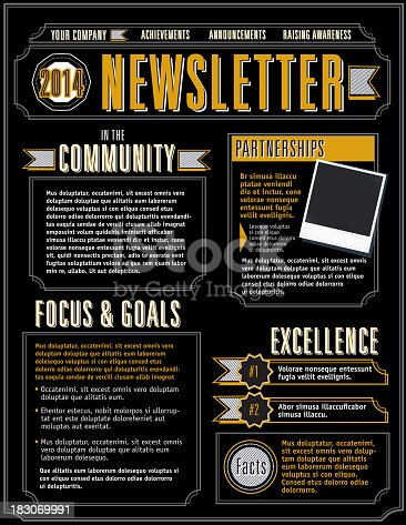 Vector illustration of a Company Newsletter design template. Includes background texture, sample text styles and design elements.