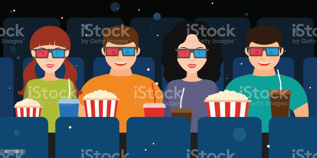Company of two couples in the cinema in 3D glasses  Vector vector art illustration