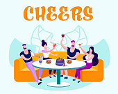 Company of Young People Have Celebration, Friends Meeting and Celebrate Party in Bakery or Home Eating Cake, Cheers, Drinking, Chatting, Spending Leisure Time. Cartoon Flat Vector Illustration, Banner