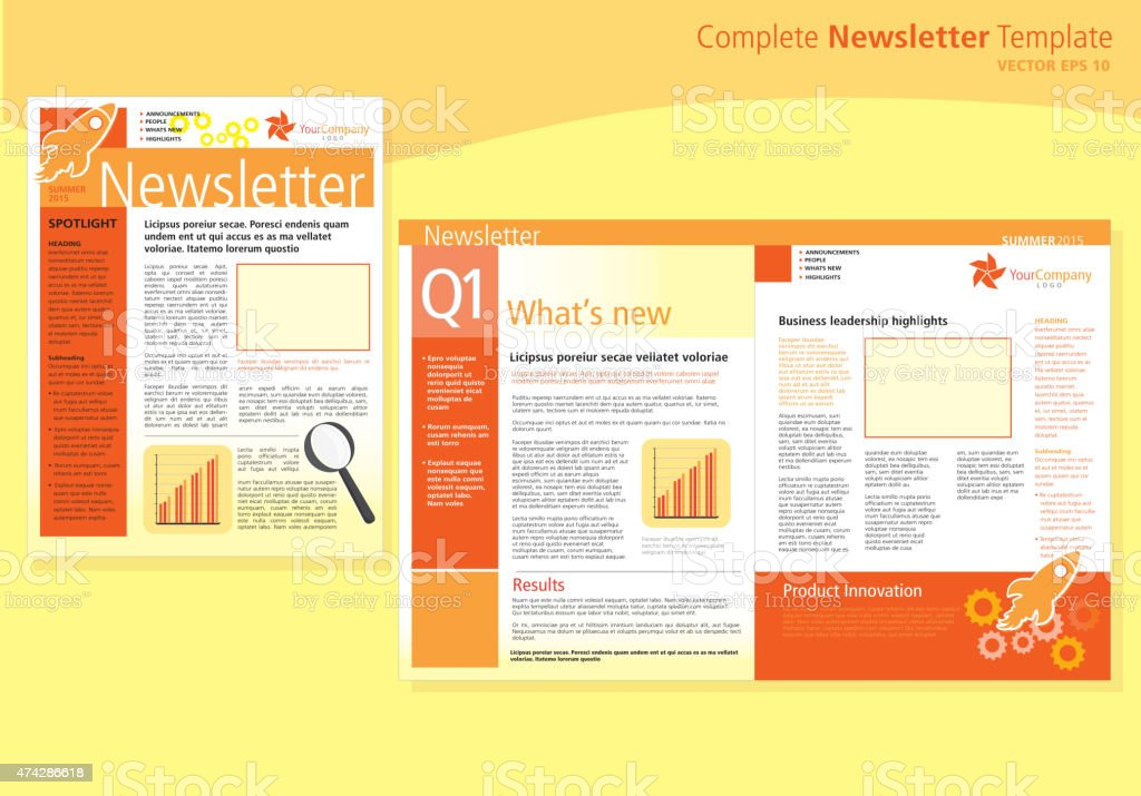 company orange newsletter cover and inside layout design flyer