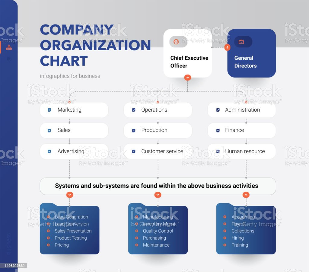 Company Organization Chart. Structure of the company. Business...