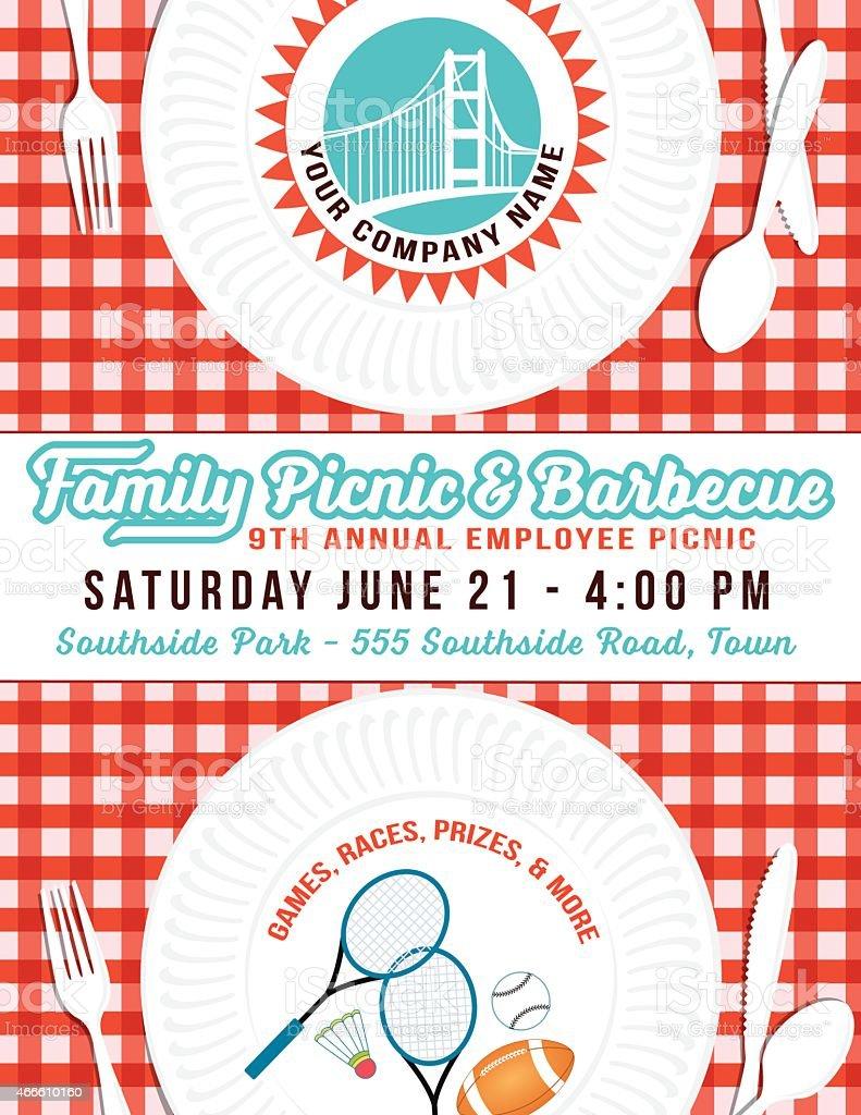 Unternehmen Picknick- und Barbecue Pappteller Poster-Vorlage-Rot  – Vektorgrafik
