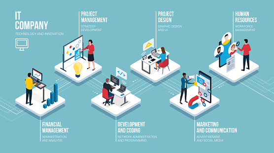 IT company professional roles isometric infographic