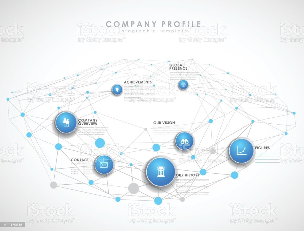 Company Profile Overview Template With Blue Circles And Dots Stock ...
