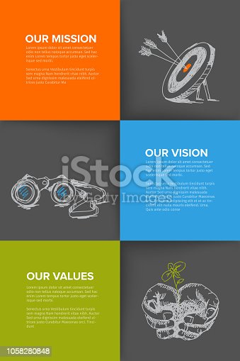 Company profile template - corporation main information presentation with mission, vision and values statement - dark version