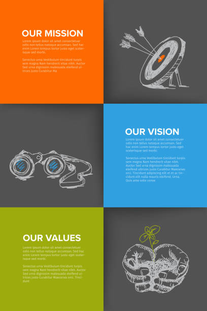 Company profile template with mission, vision and values Company profile template - corporation main information presentation with mission, vision and values statement - dark version determination stock illustrations