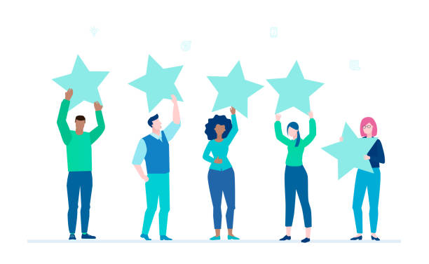 Company rating - flat design style colorful illustration Company rating - flat design style colorful illustration on white background. International team, group of people giving four star to a service or business. Customer review, feedback concept five people stock illustrations