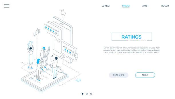 Unternehmensbewertungen - Line Design Stil isometrischewebbanner – Vektorgrafik