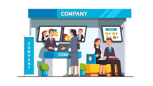 회사 대표 점원 서 회사 무역 쇼 부스 리셉션 데스크 전시회에 사업가와 얘기. 광고 인테리어입니다. 플랫 고립 된 벡터 - 전시회 stock illustrations