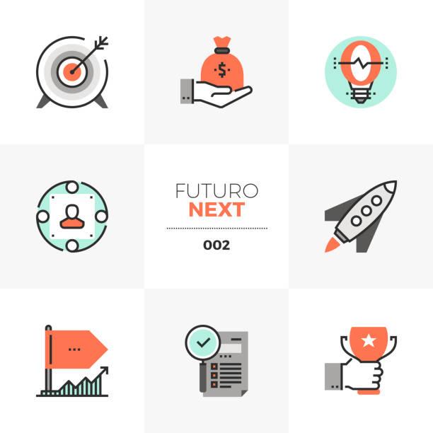 Company Startup Futuro Next Icons vector art illustration