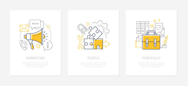 Company strategy - line design style icons set vector art illustration
