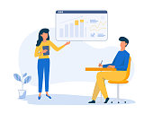 Company Strategy Planning. Business Data Analysis. Business educational concept. Digital Marketing Services. Vector character illustration in flat style.
