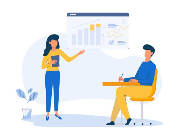 stockillustraties, clipart, cartoons en iconen met bedrijfsstrategie planning. business data analysis. business educational concept. digitale marketing diensten. vector teken illustratie in platte stijl - financieel adviseur
