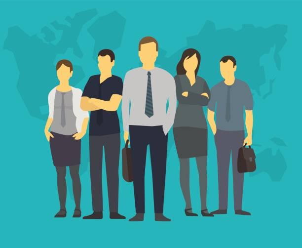 ilustrações, clipart, desenhos animados e ícones de empresa equipe grupo empresários do gabinete dos funcionários. com seu líder, chefe - ceo