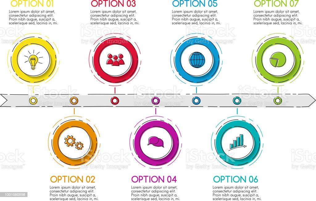 会社のタイムライン 手描きアイコン ビジネス インフォ グラフィック