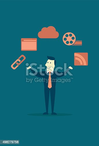 A businessman's chance to grow his business is increased with website. He can share a link of his business' website, share it to social media, advertise with digital video, and get people to subscribe to his website using RSS. The picture is 2D illustration of a man presenting image of web browser, film roll, RSS, link, and share cloud.