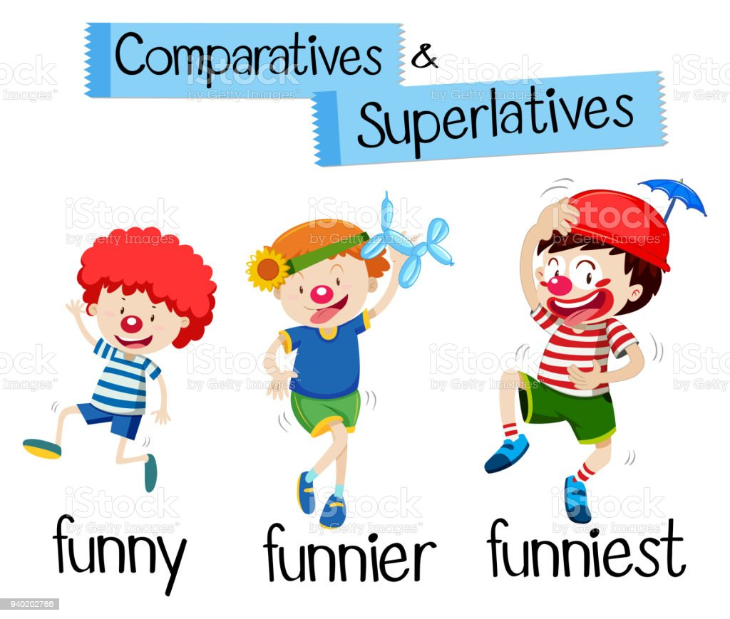 Comparatives and superlatives for word funny vector art illustration