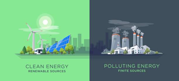 Comparing Clean and Polluting Energy Power Stations Vector illustration showing clean and polluting electricity generation production. Polluting fossil thermal coal and nuclear power plants versus clean solar panels and wind turbines renewable energy. power station stock illustrations