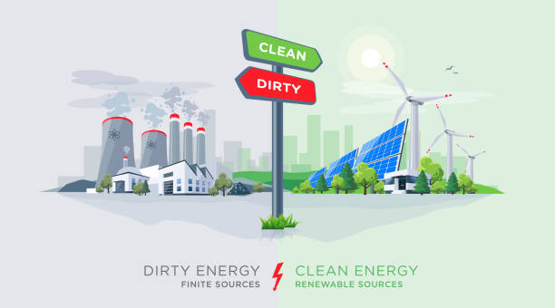 illustrazioni stock, clip art, cartoni animati e icone di tendenza di comparing clean renewable and dirty polluting energy plants with directional sign - reattore nucleare