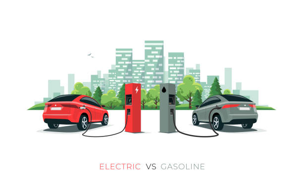 Comparing Electric Car Versus Gasoline Car with City Skyline Isolated on White Background Electric versus gasoline car suv. Electric car charging at charger station vs. fossil car refueling petrol at gas station. Vector illustration with city building skyline isolated on white background. hybrid vehicle stock illustrations