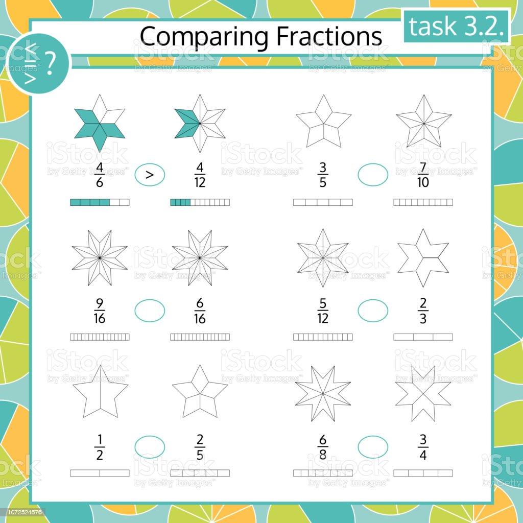 Ilustración De Comparando Fracciones Matemáticas Hoja De Cálculo