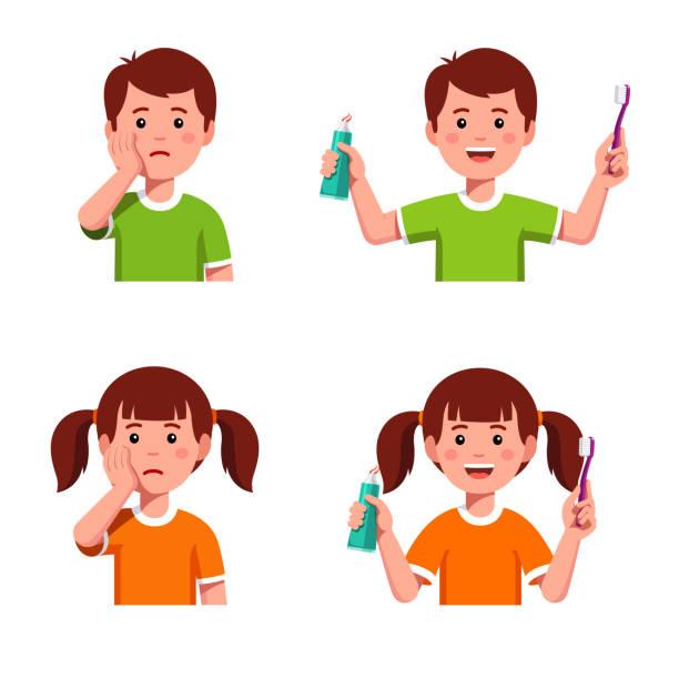 bildbanksillustrationer, clip art samt tecknat material och ikoner med jämföra glada barn med tandborste och tandkräm och upprörd pojke & tjej som har tandvärk. barn tandvård tänder hygien koncept. flat isolerade vektor - molar